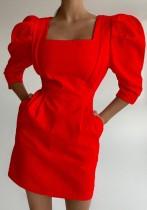 Летнее Элегантное Мини-Платье Квадратного Пышного Рукава Красный