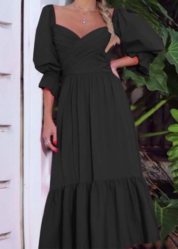Sonbahar Resmi Siyah Sweetheart Puf Kol Uzun Maksi Elbise