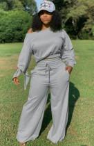 Herbstliches graues Crop-Top und Hose mit hoher Taille, 2-teiliges Set