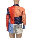 Blazer regolare a blocchi di colore autunnale con stampa retrò e maniche lunghe