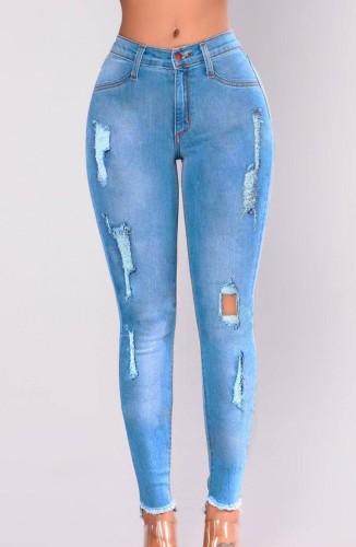 Herbstblaue, zerrissene, figurbetonte Jeans im Used-Look