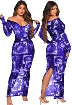 Herbst Party Print Durchsichtig Mesh Schlitz Sexy Langes Kleid