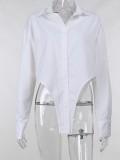 Camicetta allentata a maniche lunghe irregolare bianca autunnale