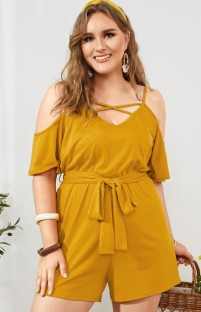 Summer Plus Size Yellow Casual Strap Rompers with Belt
