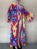 Costume da bagno intero con stampa africana e copricostume abbinati