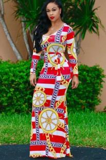 Осеннее длинное вечернее платье с длинными рукавами в африканском стиле с принтом