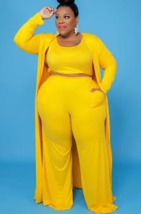 Herbst Plus Size Gelb 3-teiliges Hosen-Set Yellow