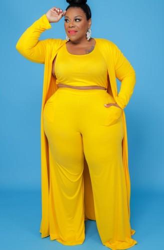 Ensemble de pantalons 3 pièces jaunes taille plus
