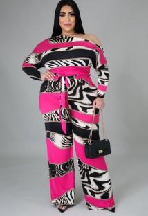 Autumn Plus Size Print Formal Jumpsuit with Belt