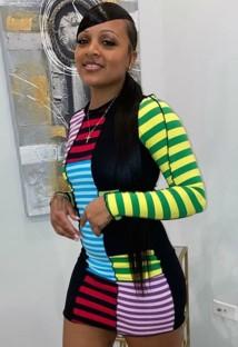 Mini abito da sera sexy a righe multicolore autunnale