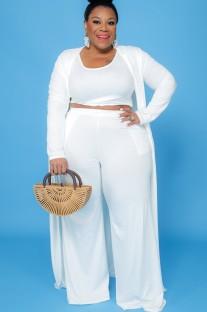 Herbst Plus Size weißes 3-teiliges Hosen-Set