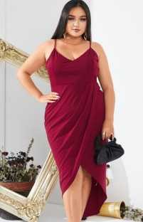 Summer Plus Size Red Strap Wrap Party Dress