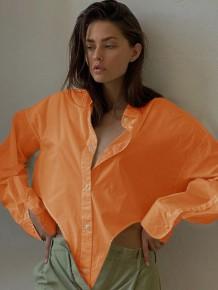 Camicetta allentata a maniche lunghe irregolare arancione autunnale