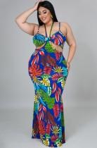 Summer Plus Size Print Cut Out Long Strap Sundress