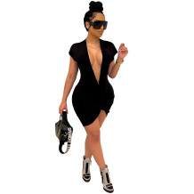 Summer Black Deep-V Sexy Short Sleeves Shirt Dress