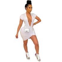 Vestido camisero de manga corta sexy con escote en V profundo en blanco