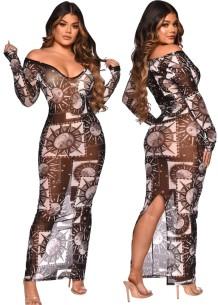 Autumn Party Print See Through Mesh Slit Sexy Long Dress