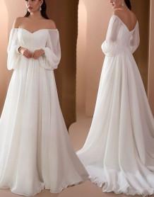 Осеннее торжественное белое длинное вечернее платье трапециевидной формы в форме сердца