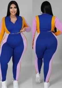 Autumn Plus Size Color Block Zip Crop Top and Pants 2 Piece Set