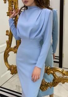 Осеннее синее вечернее элегантное длинное платье в стиле вестерн с длинными рукавами