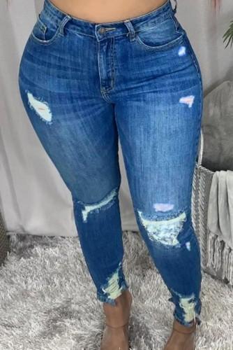 Herbstblaue, figurbetonte Jeans mit hoher Taille
