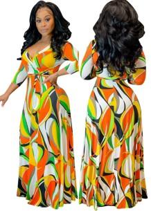 Разноцветное длинное платье макси с запахом Autumn Africa