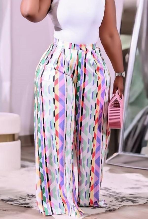 Pantaloni larghi a vita alta con stampa taglie forti autunnali