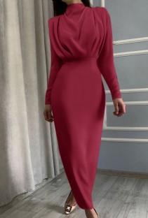 Осеннее красное элегантное длинное платье в стиле вестерн с длинными рукавами
