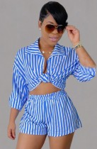 Herbst Casual Stripes Bluse und Shorts 2-teiliges Set