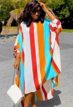Herbst beiläufiges mehrfarbiges Streifen-Puffärmel-langes Hemd-Kleid
