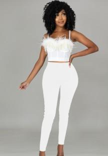 Conjunto de 2 peças de calça e top formal de alça branca pena branca para verão