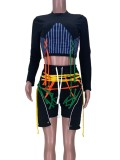 Set di pantaloncini e top corto con lacci aderenti neri autunnali