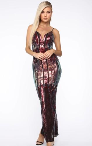 Летнее формальное длинное вечернее платье с ремешками и пайетками