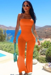 Zomer oranje sexy strapless basic jumpsuit