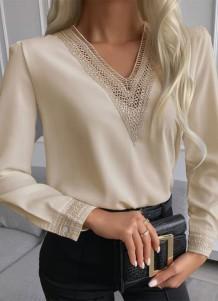 Осенняя профессиональная блузка цвета хаки с V-образным вырезом и V-образным вырезом Formal Pacth Professional