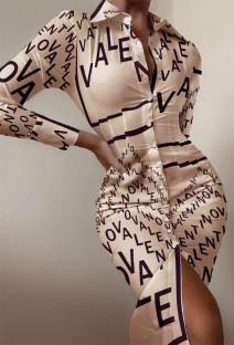 Осеннее официальное платье-блузка с буквенным принтом и длинными рукавами