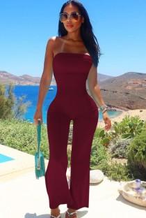 Zomer donkerrood sexy strapless basic jumpsuit