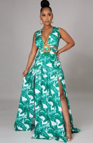 Maxi robe d'été longue sans manches fendue à col en V et à imprimé de grande taille