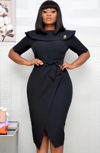 Осеннее офисное профессиональное платье-миди с запахом и поясом, черный