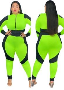 Herbst Plus Size Color Block Zip Crop Top und Hose 2-teiliges Set
