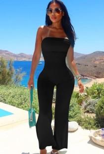 Zomer zwarte sexy strapless basic jumpsuit