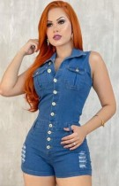Summer Blue Sleeveless Button Up Ripped Denim Rompers