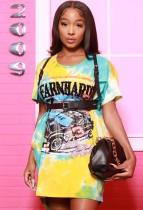 Sommer Hemdkleid mit O-Ausschnitt im Tie-Dye-Print