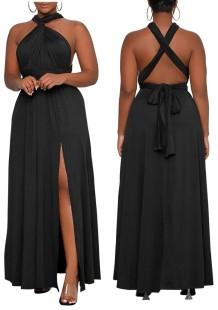 Летнее длинное вечернее платье большого размера с черным разрезом и длинными рукавами