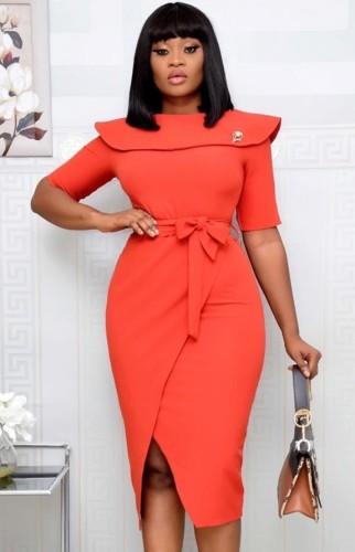 Платье-миди с запахом и поясом Autumn Office Professional, оранжевое