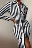 Осеннее платье-блузка миди в формальную полоску с длинными рукавами