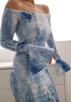 Herbst Tie Dye Blau Schulterfrei Elegantes Midikleid