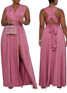 Летнее длинное вечернее платье большого размера с пурпурным разрезом