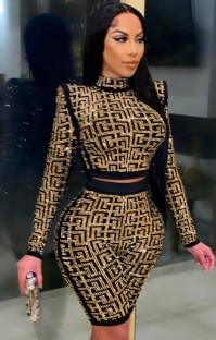 Conjunto de 2 peças de top e shorts com cercadura dourada de outono sexy