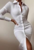 Herbst formales weißes Midi-Blusenkleid mit vollen Ärmeln